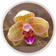 Orchid On Marble Round Beach Towel