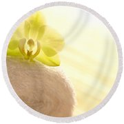 Orchid On Towel Round Beach Towel