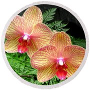 Orchid Pair Round Beach Towel