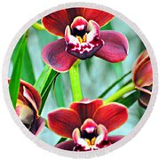 Orchid Rusty Round Beach Towel by Marty Koch