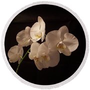 Orchid White Round Beach Towel