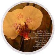 Orchid With Verse Round Beach Towel