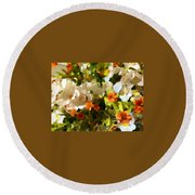 Orchids And Hydrangea Round Beach Towel