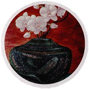 Orchids And Passion Round Beach Towel