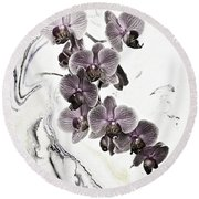 Orchids And Suminagashi Round Beach Towel
