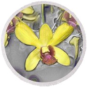 Orchids With Oil Slick Pattern Round Beach Towel