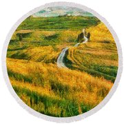 Orcia Valley Round Beach Towel