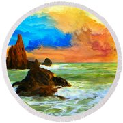 Oregon Coast At Sunset Round Beach Towel