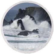 Oregon Coast Furrious Waves 1 Round Beach Towel