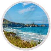 Oregon Coast Lighthouse Round Beach Towel