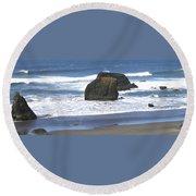 Oregon Coast Panorama Round Beach Towel