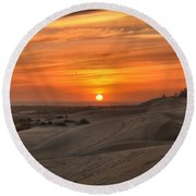 Oregon Dunes Sunset Round Beach Towel