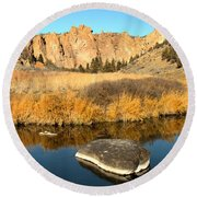 Oregon River Rock Reflections Round Beach Towel