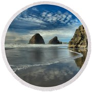 Oregon Sea Stack Surf Round Beach Towel by Adam Jewell