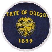 Oregon State Flag Art On Worn Canvas Round Beach Towel