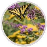 Oregon Swallowtail In The Garden  Round Beach Towel