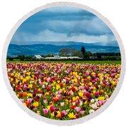 Oregon Tulip Farm - Willamette Valley Round Beach Towel