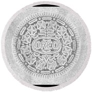 Oreo In Grey Round Beach Towel