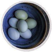 Organic Blue Eggs Round Beach Towel