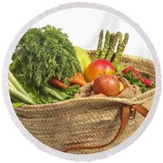 Organic Fruit And Vegetables In Shopping Bag Round Beach Towel