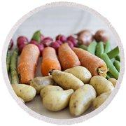 Organic Garden Vegetables Round Beach Towel