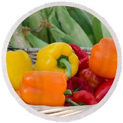 Organic Sweet Bell Peppers Round Beach Towel