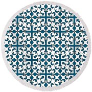 Orient Blue And White Interlude Round Beach Towel