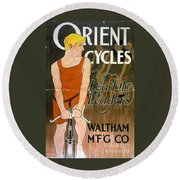 Orient Cycles Vintage Bicycle Poster Round Beach Towel