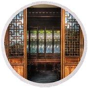 Orient - Door - The Temple Doors Round Beach Towel by Mike Savad
