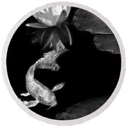 Oriental Koi Fish And Water Lily Flower Black And White Round Beach Towel