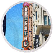 Oriental Theater With Sponge Painting Effect Round Beach Towel