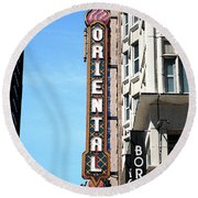 Oriental Theater With Watercolor Effect Round Beach Towel