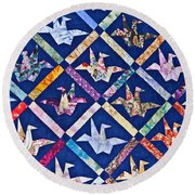 Origami Quilt Wall Art Prints Round Beach Towel