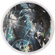 original abstract blue and black painting for sale-Blue Valley Round Beach Towel