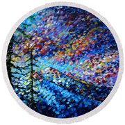 Original Abstract Impressionist Landscape Contemporary Art By Madart Mountain Glory Round Beach Towel by Megan Duncanson