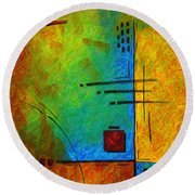 Original Abstract Painting Digital Conversion For Textured Effect Resonating IIi By Madart Round Beach Towel