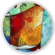 Original Abstract Pop Art Style Colorful Landscape Painting Home To Tuscany By Megan Duncanson Round Beach Towel