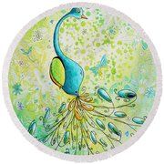 Original Acrylic Bird Floral Painting Peacock Glory By Megan Duncanson Round Beach Towel