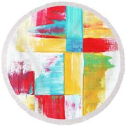 Original Bold Colorful Abstract Painting Patchwork By Madart Round Beach Towel by Megan Duncanson