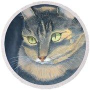 Original Cat Painting Round Beach Towel