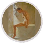 Original Classic Oil Painting Body Man Art- Male Nude In The Bathroom#16-2-3-01 Round Beach Towel
