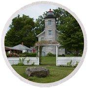 Original Lighthouse Site Round Beach Towel