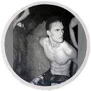 original Oil painting gay man body male nude art on canvas-201 Round Beach Towel