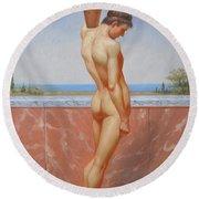 Original Oil Painting Man Body Art Male Nude On Canvas#16-2-5-13 Round Beach Towel