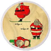 Original Patent For Santa On Skis Figure Round Beach Towel