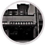Original Starbucks Black And White Round Beach Towel