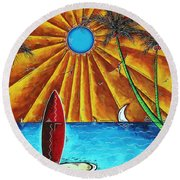Original Tropical Surfing Whimsical Fun Painting Waiting For The Surf By Madart Round Beach Towel