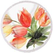 Original Tulips Flowers Round Beach Towel
