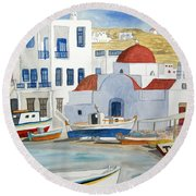 Watercolor - Mykonos Greece Detail Round Beach Towel