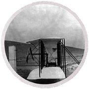 Original Wright Airplane, 1903 Round Beach Towel